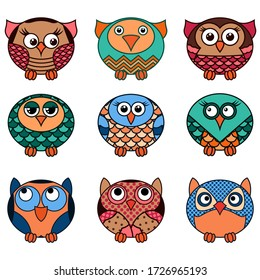 Set of nine cute cartoon oval owls in various pattern isolated on the white background, cartoon vector outlines as icons