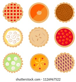 Set of nine cute, colorful pie vector icons
