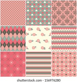 Set of nine cute seamless pattern, including polka dots, floral, damask, striped, waved, geometric, heart shape.