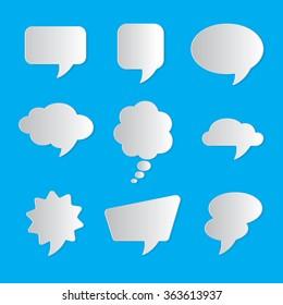 Set of nine dialog boxes on blue background - 3d paper art style