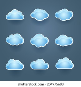 Set of nine different blue vector cloud icons in different shapes conceptual of the weather forecast or cloud computing