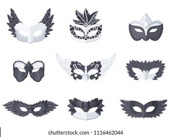 Set of nine different carnival and celebratory masks in a dark tone on white background. Vector illustration