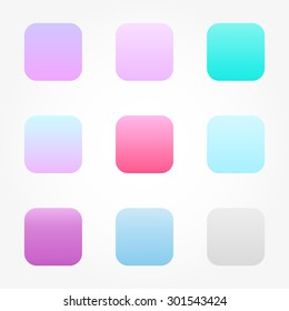 Set of nine different colored buttons gradients in pastel colors blue, turquoise, pink and purple for your phone.