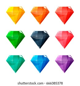 Set of nine different colored crystals, gemstones, gems, diamonds. Vector gui assets collection in cartoon style for game design isolated on white background.