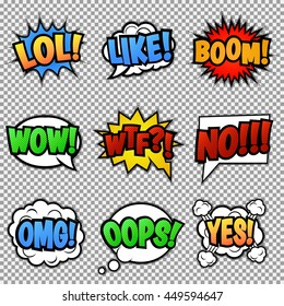 Set of nine different, colorful comic stickers. Pop art speech bubbles with  LOL, LIKE, BOOM, WOW, WTF, NO, OMG, OOPS, YES.  Isolated, vector eps 10.