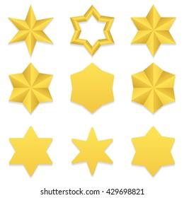 Set of nine different golden six point stars. Vector, eps10.