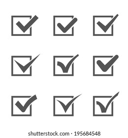 Set of nine different grey and white vector check marks or ticks in boxes conceptual of confirmation  acceptance  positive  passed  voting  agreement  true or completion of tasks on a list
