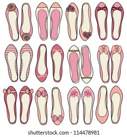 A set of nine different models of ballerina shoes.