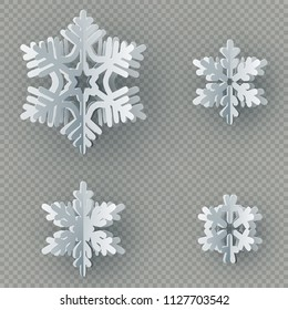 Set of nine different paper snowflake cut from paper isolated on transparent background. Merry Christmas, New Year winter theme decoration object. EPS 10