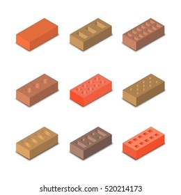 Set of nine different shapes isometric bricks, design elements construction materials, isolated on a white background, vector illustration.