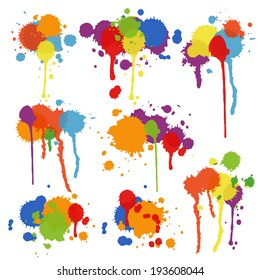Set of nine different shapes of multicolored stains and blots in brightly colored ink  paint or pigment with drips and runs in an artistic display  vector illustration