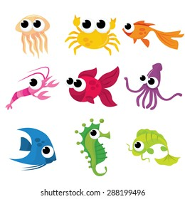 A set of nine different vector cartoon of sea creatures stock vector illustration.