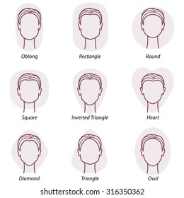 Set of nine different woman's face shapes