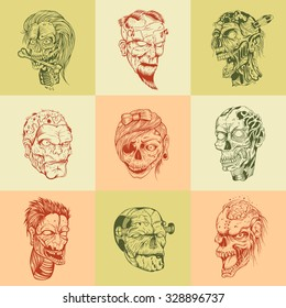 Set of nine drawn image with the zombie head.
