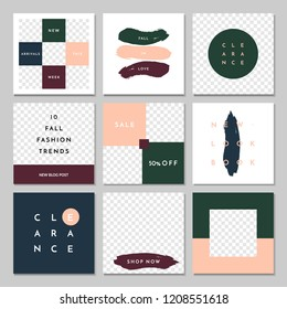 A set of nine editable square templates for social media posts in pastel pink, white, dark green, navy and dark red. Fashion and lifestyle blog templates, web banners with placeholder for photos.