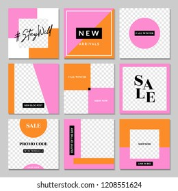 A set of nine editable square templates for social media posts in pink, white, orange and black. Fashion and lifestyle blog templates, web banners, brochure designs with placeholder for photos.