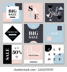 A set of nine editable square templates for social media posts in pastel pink, baby blue, gray and black. Fashion and lifestyle blog templates, web banners, brochure designs with placeholder for photo
