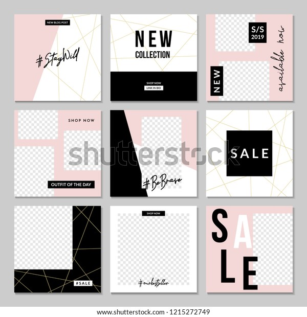 Square Templates | Set Nine Editable Square Templates Social Stock Vector Royalty Free