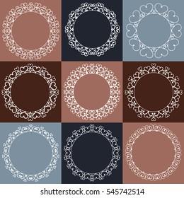 Set of nine elegant monogram templates made with vintage heart shapes