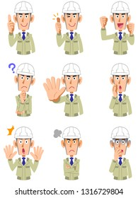 A set of nine expressions and gestures of the upper body of a man wearing work clothes wearing a helmet 2
