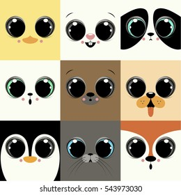 Set of nine faces of the animal babies. Depicts duck,rabbit,panda,cat,bear,dog,penguin,seal and fox.