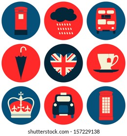 A set of nine flat design icons with London symbols isolated on white background.