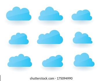 Set of nine fluffy modern cloud illustrations