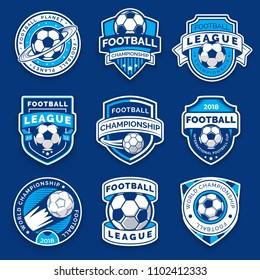 Set of nine football badges. Soccer emblems. Collection symbol of football