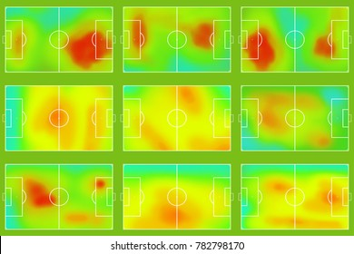 Set of nine football or soccer field with heat map. Tactical and strategy sport background. Map of location players during the game.