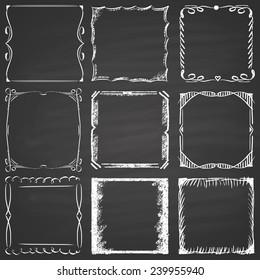 Set of nine frames chalk on a blackboard.