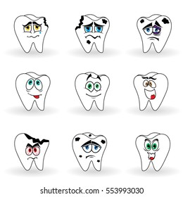 Set of nine funny cartoon teeth with various face, color vector illustrations