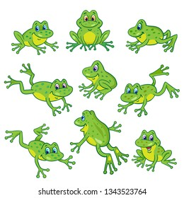 Set of nine funny frogs in various poses. In cartoon style. Isolated on white background.