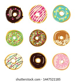 Set of nine glazed donuts. Bakery Vector illustration. Top View doughnuts into pink, green, blue, caramel and chocolate glaze