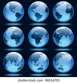 Set of nine globes showing earth with all continents.
