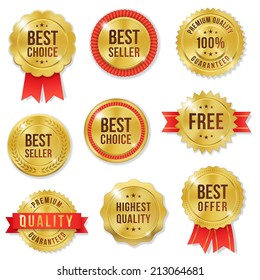 Set of nine  golden vector Commercial Labels and Ribbon templates. Vector file is organized in layers to separate Graphic elements from Text and Shadows.