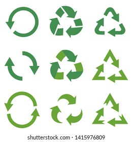 Set of nine green vector icons of recycle signs