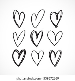 Set of nine hand drawn heart. Handdrawn rough marker hearts isolated on white background. Vector illustration for your graphic design.
