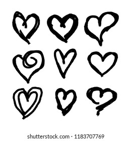Set of nine hand drawn hearts. Handdrawn rough marker heart isolated on white background. Vector illustration for your graphic design
