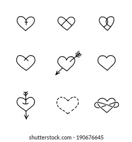 Set of nine hand drawn hearts in tattoo style