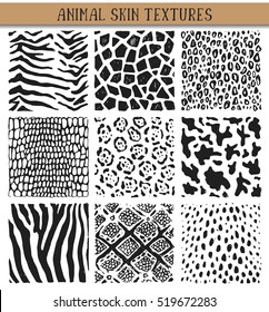 Set of nine hand drawn ink abstract textures. Vector backgrounds of simple primitive scratchy animal skin patterns.