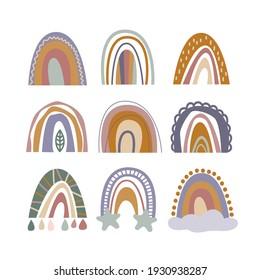 Set of nine hand-drawn rainbows. Nursery wall decor, minimalist vintage boho style. Arch symbol for baby shower party invitation