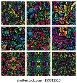 Set of nine hand-drawn seamless patterns. Hand-drawn seamless patterns may be used as background.