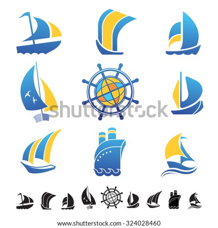 set nine icons boats silhouettes sailing stock vector royalty free