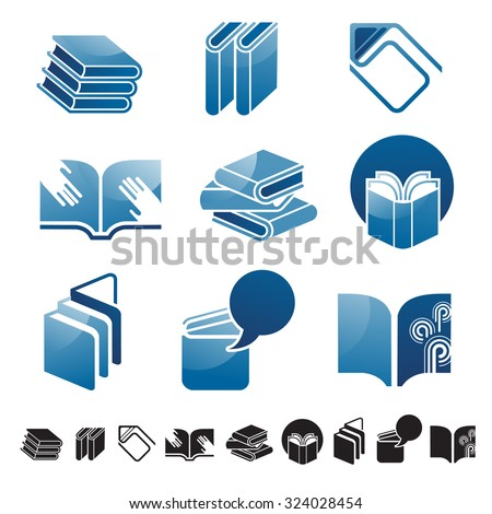 Set Nine Icons Books Silhouettes Education Stock Vector Royalty