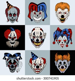 Set of nine images with painted fantastic cartoon scary clown.