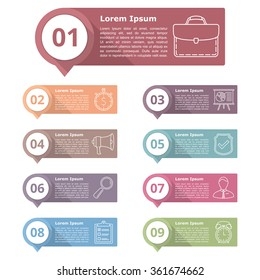 Set of nine infographics design elements for your text with numbers and line icons, vector eps10 illustration