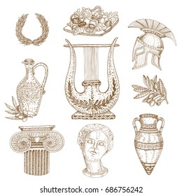 Set of nine isolated drawn greece ancient decorative images with elements of classic architecture and vessels vector illustration