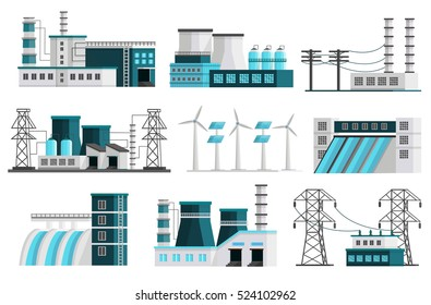 Set of nine isolated orthogonal power generation images of powerhouse landscape scenes transmission lines transformer pillars vector illustration
