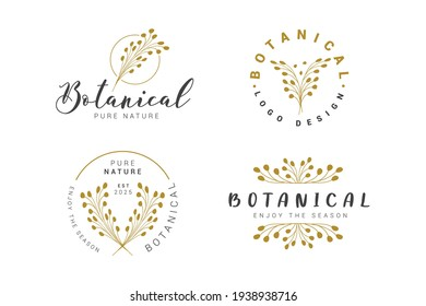 A set of nine modern and elegant premade typographic logo designs for florists, cosmetics, weddings and home decor. Nature inspired vector illustration in black isolated on white background.