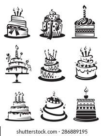 set of nine monochrome cakes